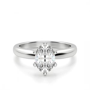 Помолвочное кольцо с бриллиантом овал в 6 крапанах