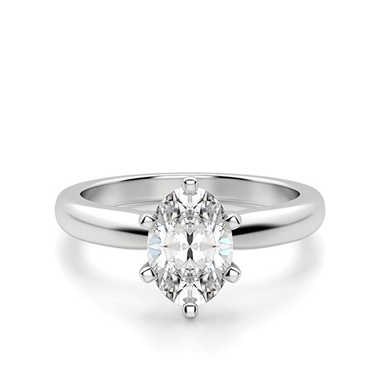 Помолвочное кольцо с бриллиантом овал в 6 крапанах, Больше Изображение 1