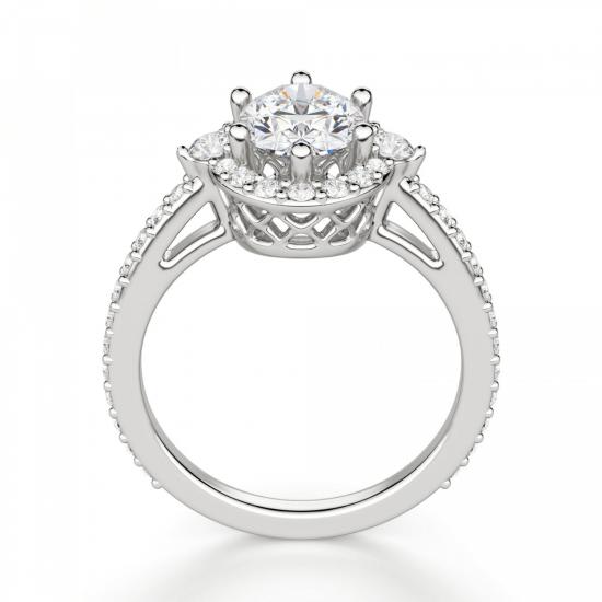 Помолвочное кольцо с бриллиантом овальной формы,  Больше Изображение 2