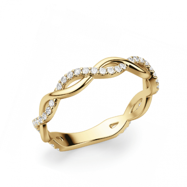 Кольцо дорожка с переплетением с бриллиантами