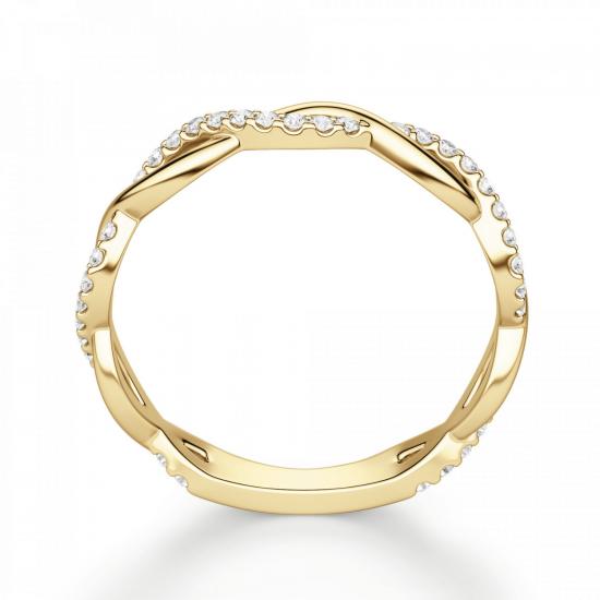Кольцо дорожка с переплетением с бриллиантами,  Больше Изображение 2