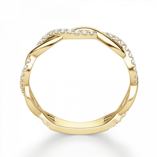 Кольцо дорожка с переплетением с бриллиантами - Фото 1