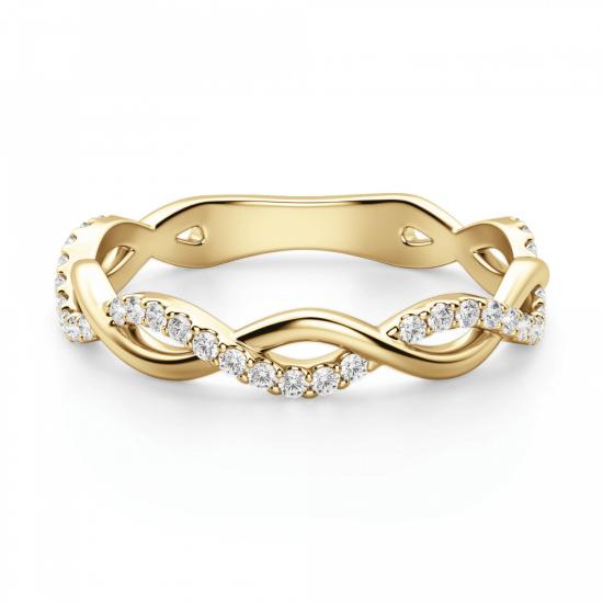 Кольцо дорожка с переплетением с бриллиантами,  Больше Изображение 3