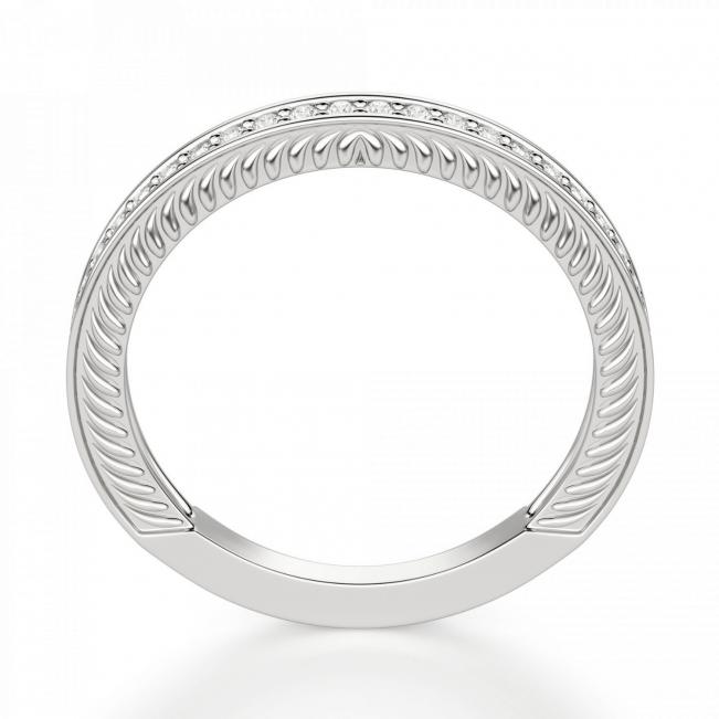 Кольцо с рельефными боковинками дорожка с бриллиантами