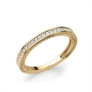 Кольцо полудорожка с бриллиантами и декором по бокам