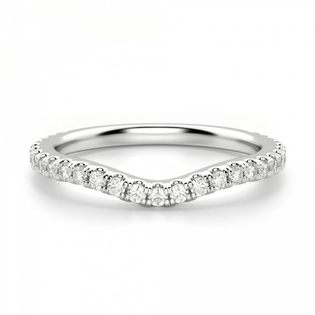 Кольцо дорожка с бриллиантами изогнутое