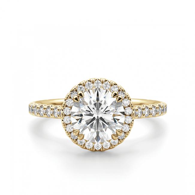 Кольцо малинка с бриллиантом в ореоле
