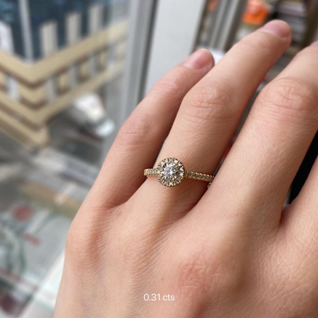 Кольцо из золота малинка с бриллиантом 0.31 в ореоле - Фото 1