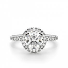 Помолвочное кольцо с ореолом малинка