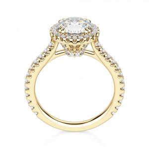 Кольцо из золота малинка с бриллиантом 0.31 в ореоле