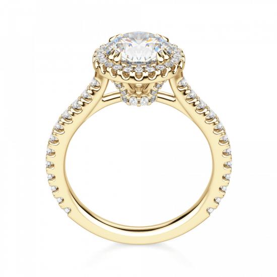 Кольцо малинка с бриллиантом в ореоле,  Больше Изображение 2