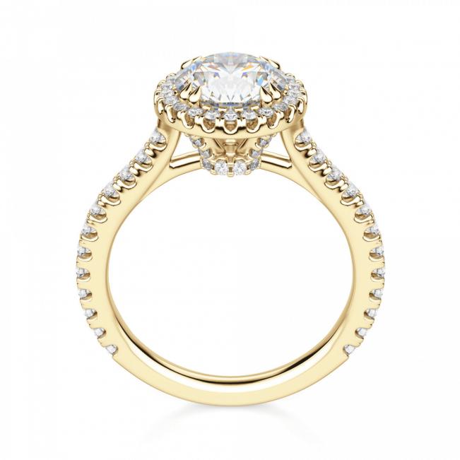 Кольцо из золота малинка с бриллиантом 0.31 в ореоле - Фото 3
