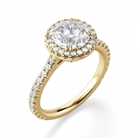 Кольцо малинка с бриллиантом в ореоле,  Больше Изображение 3
