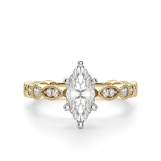 Кольцо с бриллиантом маркиз ажурное, Больше Изображение 1