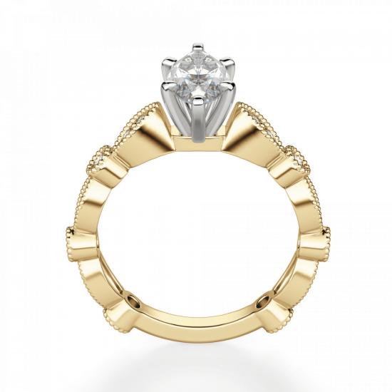 Кольцо с бриллиантом маркиз ажурное,  Больше Изображение 2