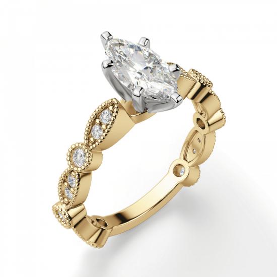 Кольцо с бриллиантом маркиз ажурное,  Больше Изображение 3