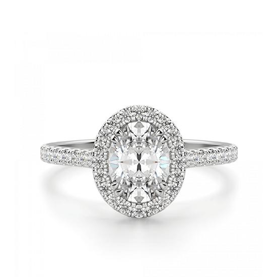 Кольцо с овальным бриллиантом в стиле малинка, Больше Изображение 1