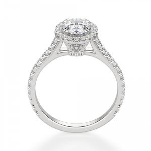 Кольцо с овальным бриллиантом в стиле малинка