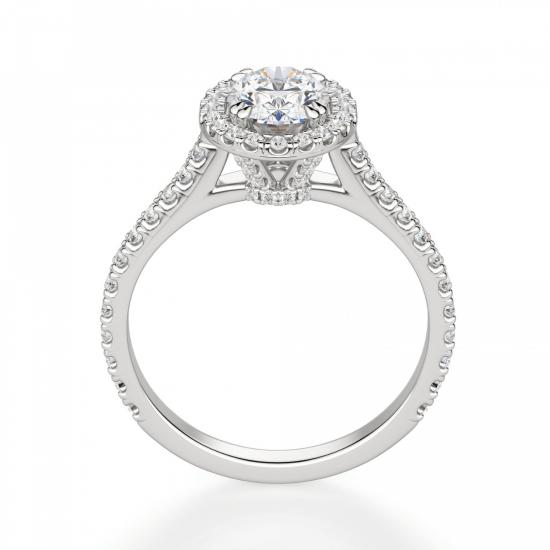 Кольцо с овальным бриллиантом в стиле малинка,  Больше Изображение 2
