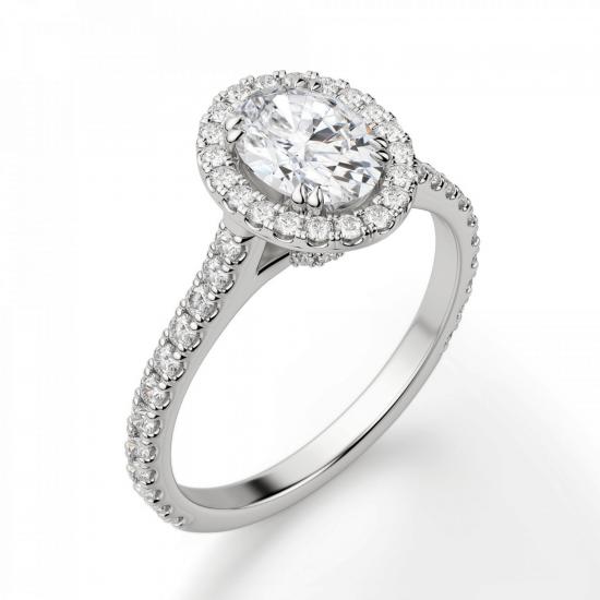 Кольцо с овальным бриллиантом в стиле малинка,  Больше Изображение 3