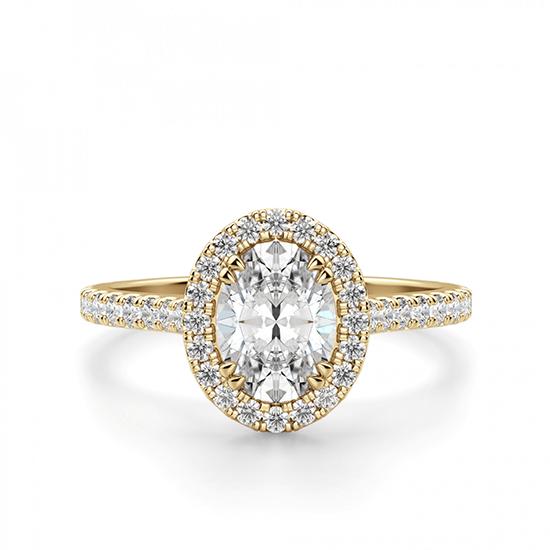 Кольцо с овальным бриллиантом в паве, Больше Изображение 1