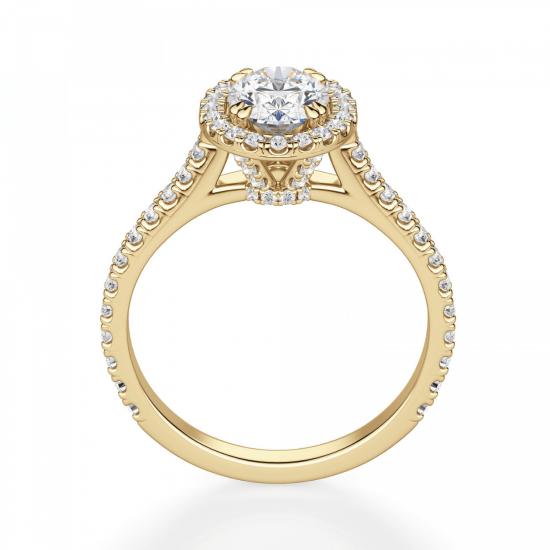 Кольцо с овальным бриллиантом в паве,  Больше Изображение 2