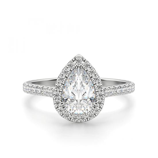 Кольцо с бриллиантом груша в бриллиантовом ореоле, Больше Изображение 1