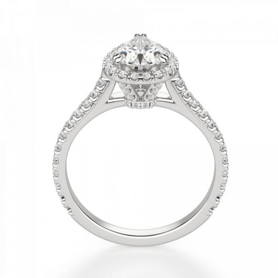 Кольцо с бриллиантом груша в бриллиантовом ореоле,  Больше Изображение 2