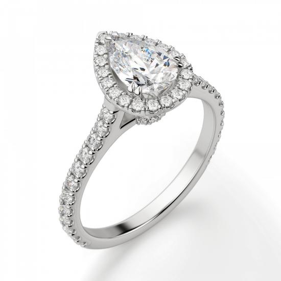 Кольцо с бриллиантом груша в бриллиантовом ореоле,  Больше Изображение 3