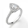 Кольцо с бриллиантом груша в бриллиантовом ореоле, Изображение 3