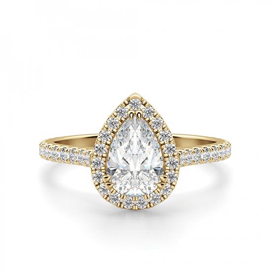 Кольцо с бриллиантом груша с паве, Больше Изображение 1