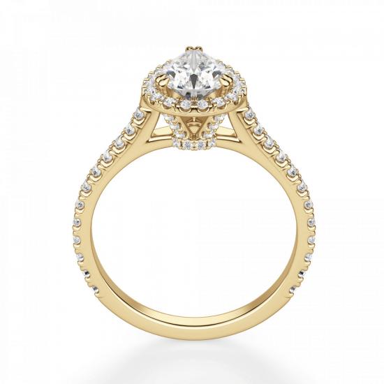 Кольцо с бриллиантом груша с паве,  Больше Изображение 2