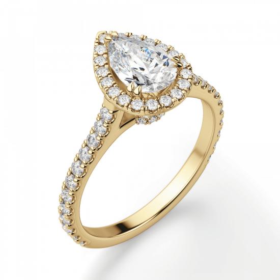 Кольцо с бриллиантом груша с паве,  Больше Изображение 3