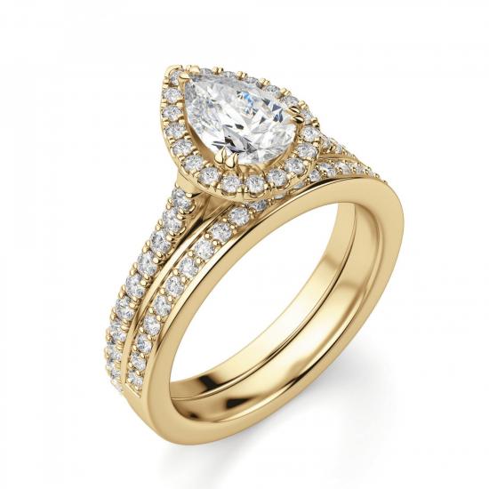 Кольцо с бриллиантом груша с паве,  Больше Изображение 4