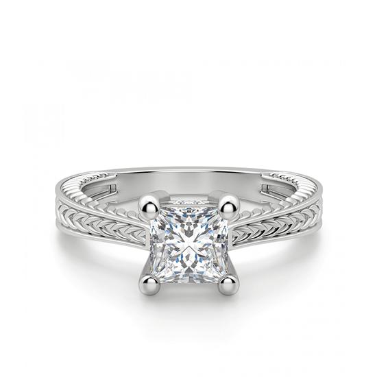 Помолвочное кольцо из золота с бриллиантом принцесса, Больше Изображение 1