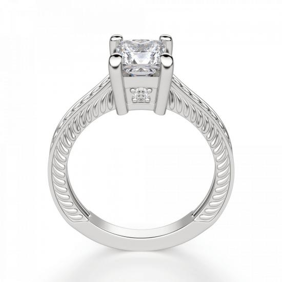 Помолвочное кольцо из золота с бриллиантом принцесса,  Больше Изображение 2