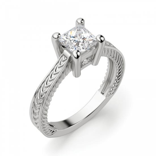 Помолвочное кольцо из золота с бриллиантом принцесса,  Больше Изображение 3