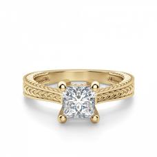 Помолвочное кольцо Принцесса из желтого золота