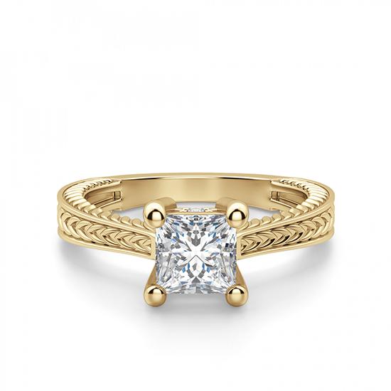 Помолвочное кольцо Принцесса из желтого золота, Больше Изображение 1