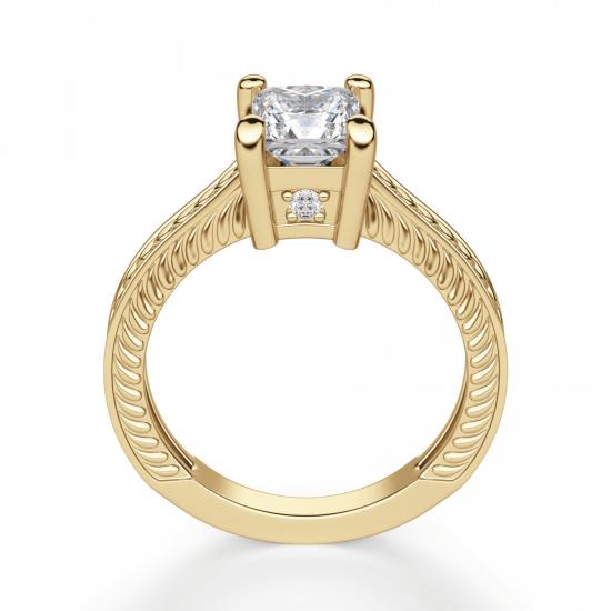 Помолвочное кольцо Принцесса из желтого золота,  Больше Изображение 2