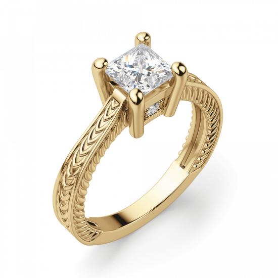 Помолвочное кольцо Принцесса из желтого золота,  Больше Изображение 3