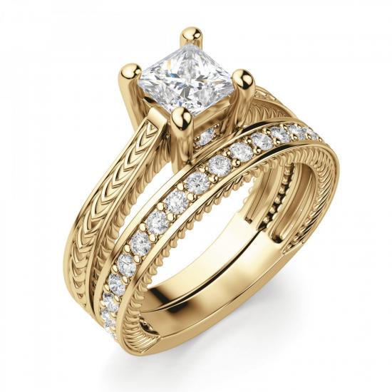 Помолвочное кольцо Принцесса из желтого золота,  Больше Изображение 4