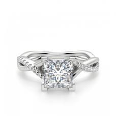 Переплетеное кольцо с бриллиантом Принцесса