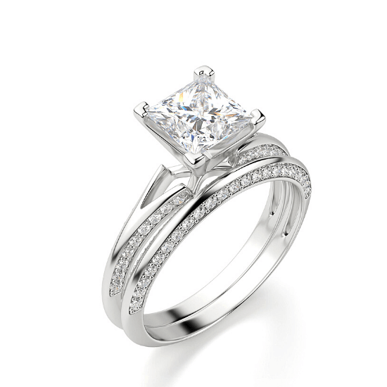 Помолвочное кольцо с бриллиантом Принцесса,  Больше Изображение 3