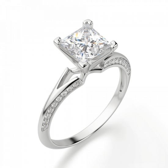 Помолвочное кольцо с бриллиантом Принцесса,  Больше Изображение 4