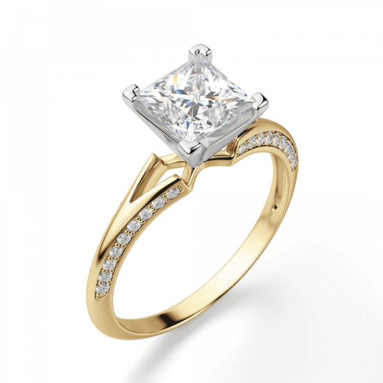 Помолвочное кольцо принцесса с раздвоением,  Больше Изображение 4