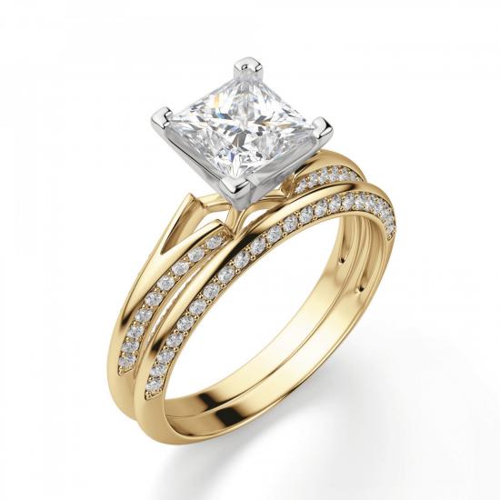 Помолвочное кольцо принцесса с раздвоением,  Больше Изображение 3