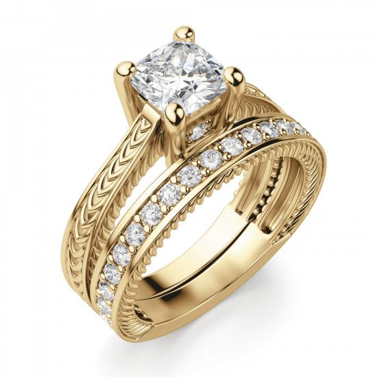 Помолвочное кольцо кушон плетеное,  Больше Изображение 4