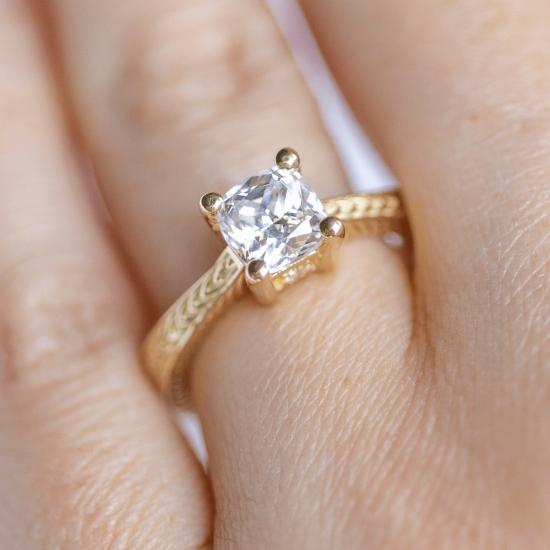 Помолвочное кольцо кушон плетеное,  Больше Изображение 5