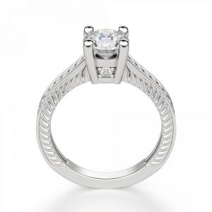Кольцо с бриллиантом с золотыми узорами - Фото 1